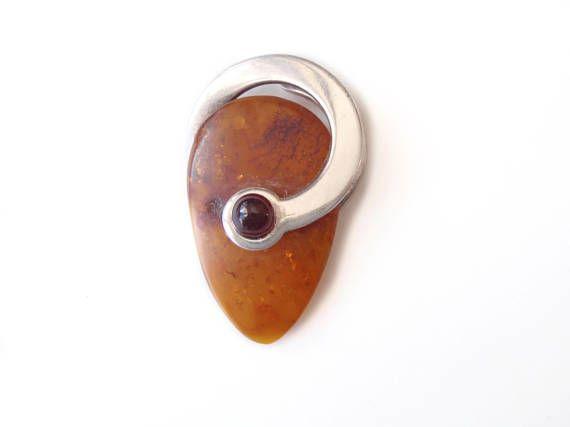 Genuine Marble Cabochon Earrings Vintage Bronze