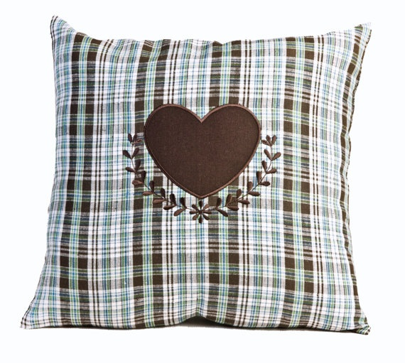 Heart Appliqued Pillow Mountains Heart by MonartHomeDecor on Etsy, $35.00; pillow, decor, home decor, embroidery, appliqued pillow