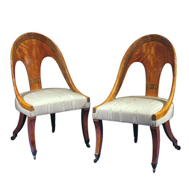 Superb Pair Of Regency Satinwood Spoon Back Chairs