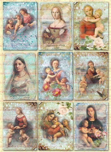 9 Vintage Shabby  Madonna Heiligen Bügelbilder A4 von Doreen`s Bastelstube  - Kreativ & Außergewöhnlich auf DaWanda.com