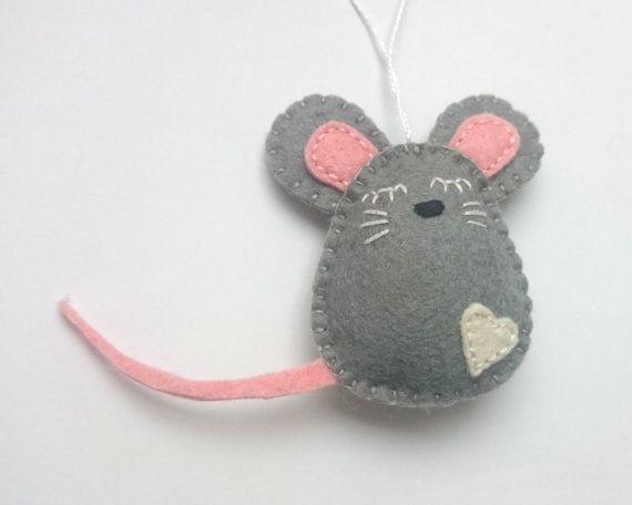 Felt mouse ornament Christmas mice home decor handmande