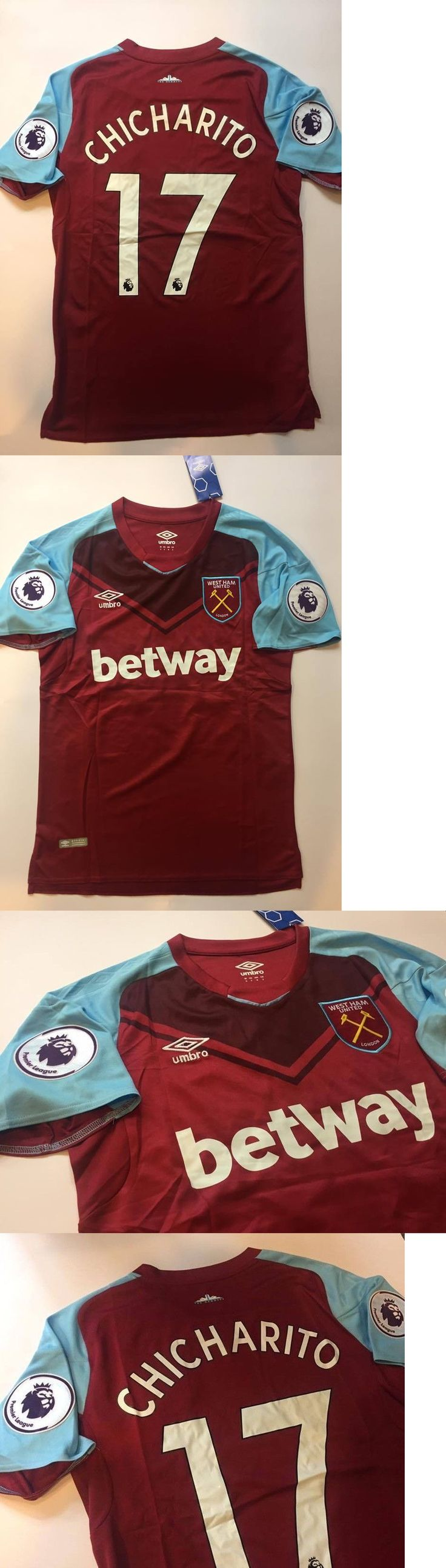 Men 123490: West Ham United Chicharito Home Soccer Jersey Premier League Patches -> BUY IT NOW ONLY: $44 on eBay!