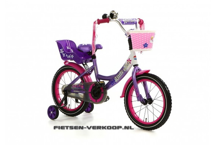 Meisjesfiets Little Miss Paars 16 Inch | bestel gemakkelijk online op Fietsen-verkoop.nl