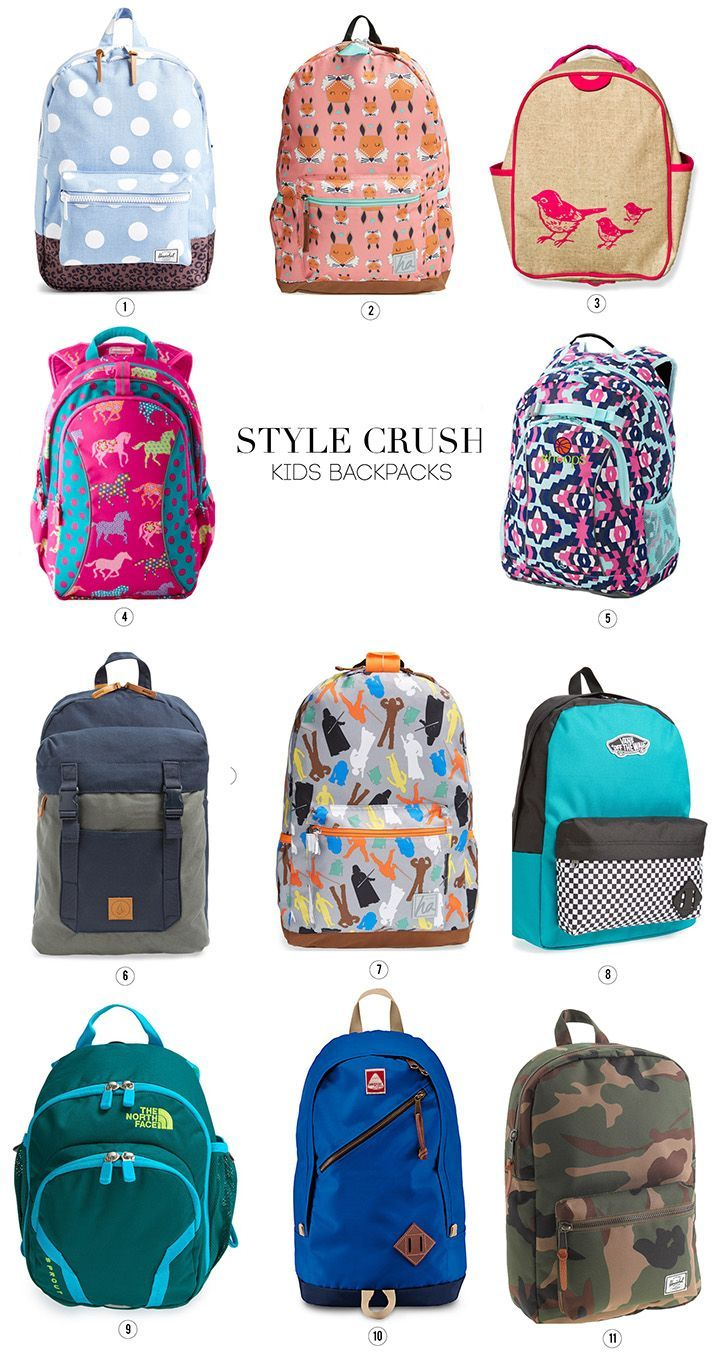 Stylish backpacks for kids. Perfect for when it's time to go back to school!