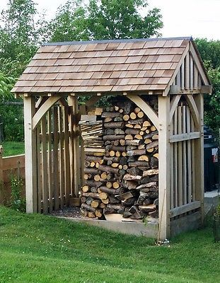 LOG STORE, garden store, solid oak, oak frame, wooden store, traditionally made in Garden & Patio, Garden Structures & Shade, Other Structures & Shade | eBay!