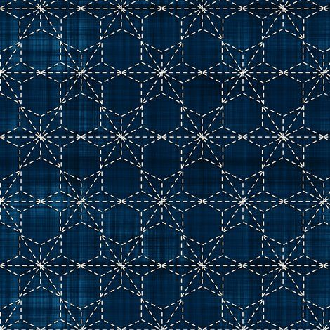 #Sashiko  Sashiko: Tobi asa-no-ha - Scattered hemp leaf