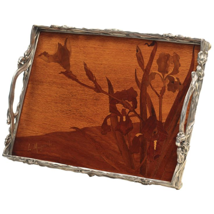 French Art Nouveau Marquetry Serving Tray | From a unique collection of antique and modern decorative objects at http://www.1stdibs.com/furniture/more-furniture-collectibles/decorative-objects/