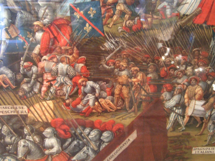 Battle of Pavia in 1525. Unknown French or Flemish artist. Royal Armory Museum, Leeds. Detail.