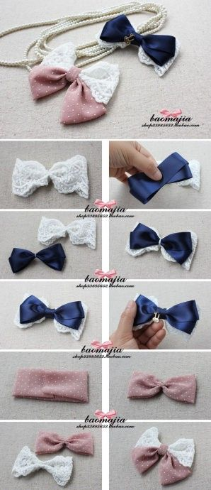 DIY Bow from Lace Trim and Ribbon