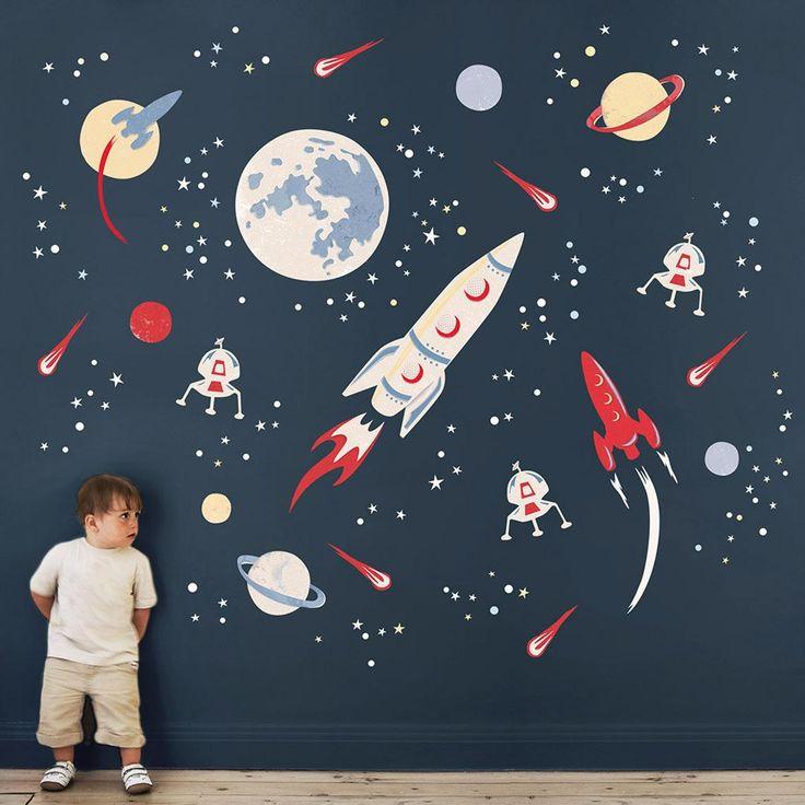 Space Rocket Stoff Wandaufkleber Weltraum kinderzimmer