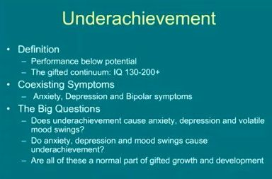 """In a very real sense, everyone may be called """"underachieving"""" regardless of whether they are gifted or not. One definition is """"Performance below potential."""""""