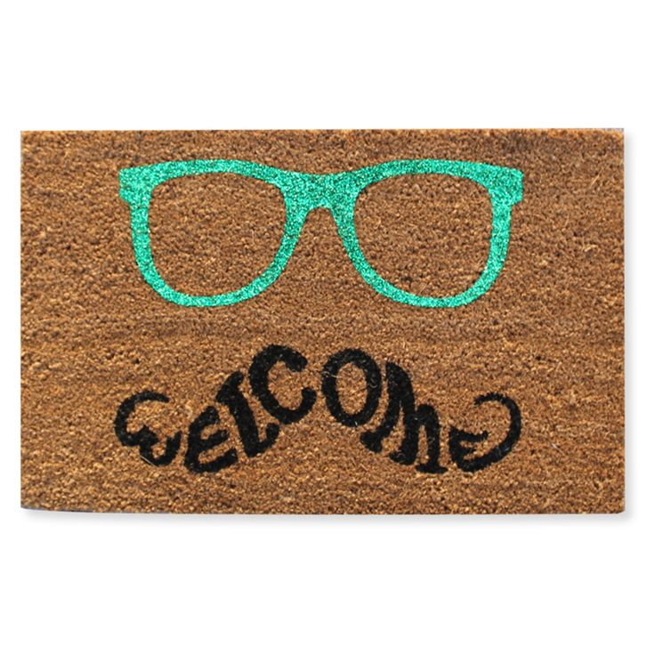 First Impression Green Glasses Welcome Outdoor Door Mat - PTF2005