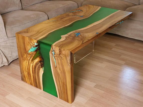 Waterfall Live Edge River Coffee Table With Plexiglass Leg And Glowing Turquoise Resin River Flows Through Tale Top An Wood Resin Table Resin Table Wood Table