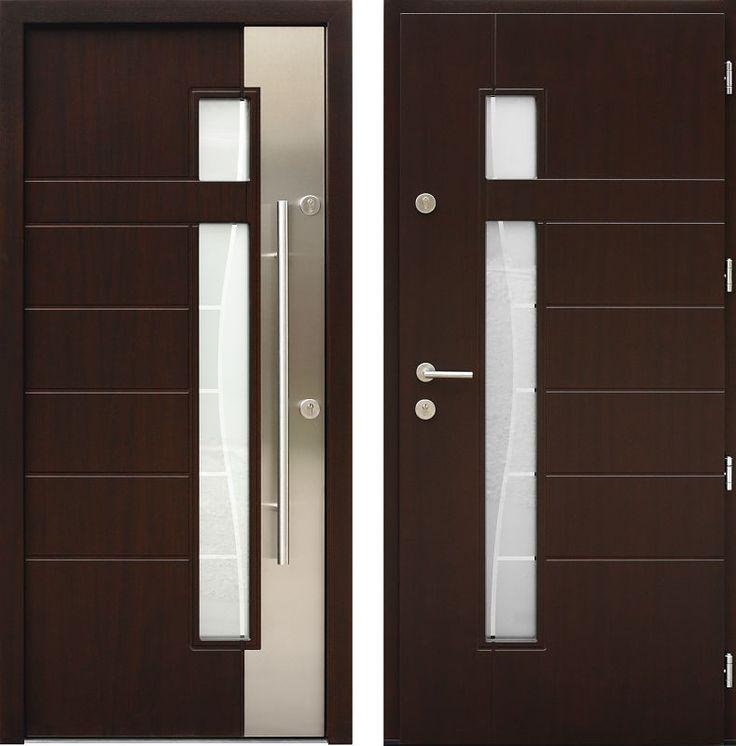 Drzwi wejściowe z aplikacjamii ze stali nierdzewnej inox wzór 437,1-437,11+ds3 ciemny orzech