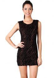 Something Borrowed Petite  Something Borrowed Petite Velvet Animal Print Dresses Bronze Black
