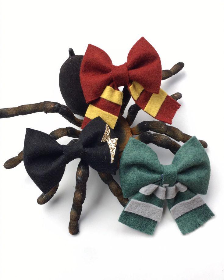 Harry Potter Felt Bow, Nylon Headband, Hair Clips, Handmade, Baby Girl, Slytherin, Gryffindor