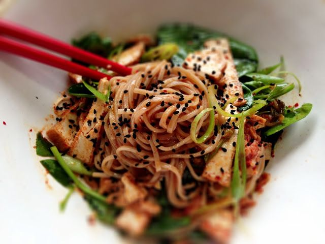 Cold Soba noodle salad with Tofu, Kimchi & Spinach