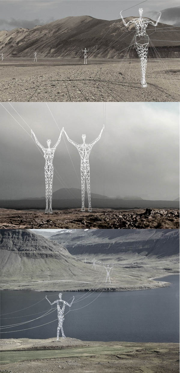Land of Giants  ::  Making only minor alterations to well established steel-framed tower design, Choi+Shine has created a series of towers that are powerful, solemn and variable.  Seeing the pylon- figures will become an unforgettable experience, elevating the towers to something more than merely a functional design of necessity.   Perhaps due to Iceland's unfortunate economic crisis, the pylonfigures have not (yet) been constructed.  (Where: Iceland)