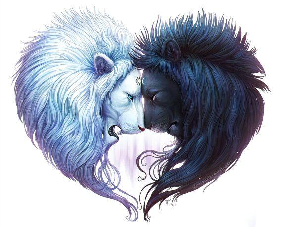 Fraternité - signé beaux-arts giclée Print - decoration murale - Fantasy Lions formant un coeur - peinture par Jonas Jödicke