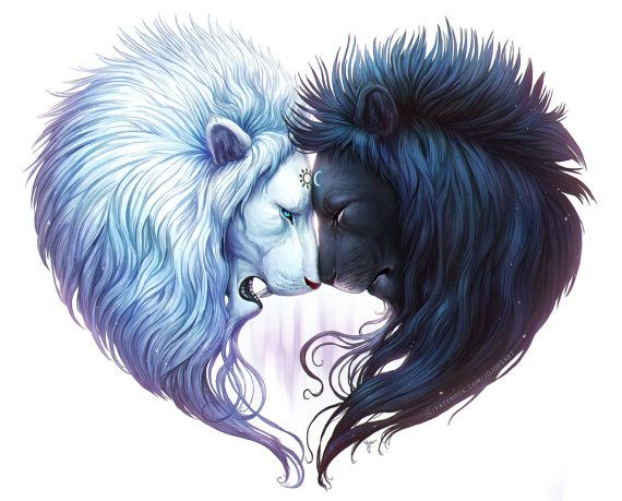 Brotherhood - Signed Fine Art Giclee Print - Wall Decor - Fantasy Lions Forming a Heart - Painting by Jonas Jödicke