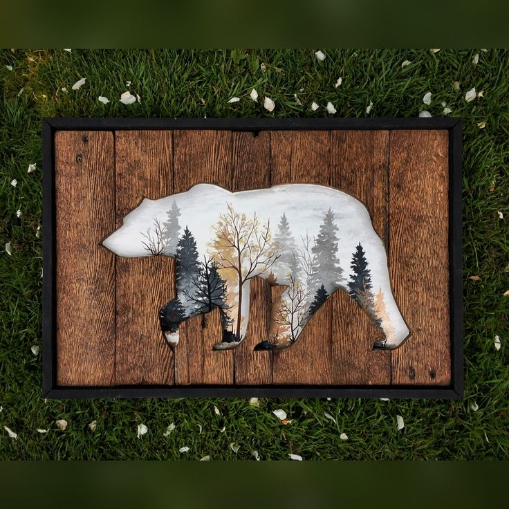 "A beautiful piece created on reclaimed wood of a bear and within' the  cutout is a foggy Autumn morning. And to bring it all together, a crisp  black frame. Measures at 16""x24"". Woodworking and painting all in one."