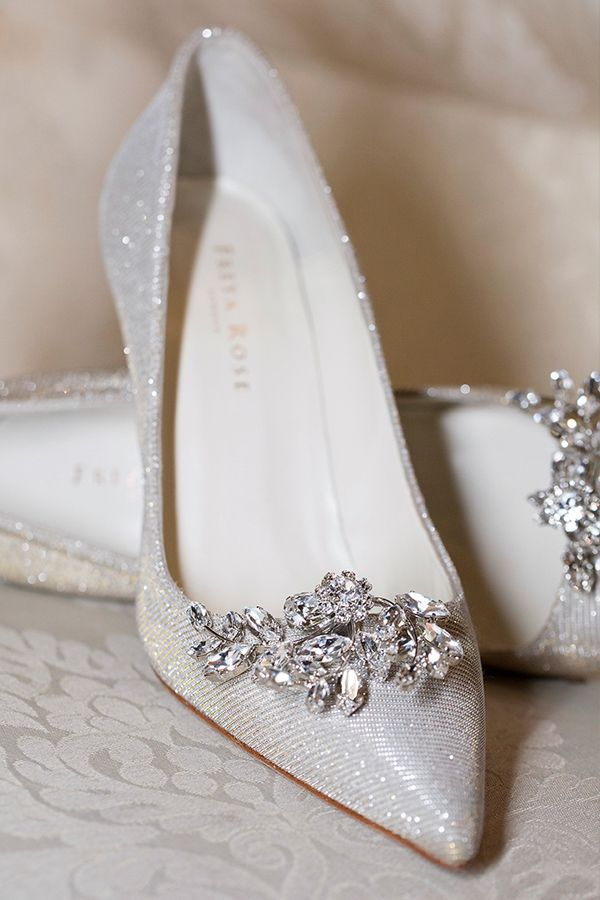 Shimmering Lame Bridal Pumps With Vintage Inspired Brooches Love