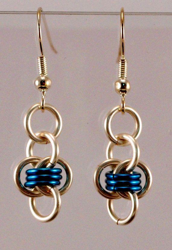 Chainmaille Barrels Earrings - Silver & Blue via Etsy