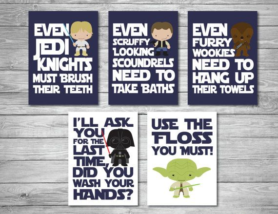Bring a little Star Wars to your childs bathroom! This set includes all 5 designs in navy blue pictured above.  These downloads are formatted to be