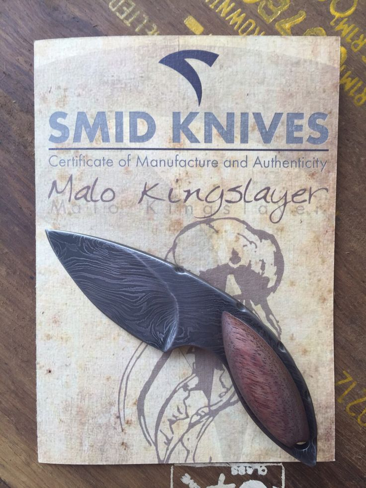 """Smid """"Malo kingslayer"""" First of a 14 part design of my own knives.  1/1 / rose wood / damascus / sold."""