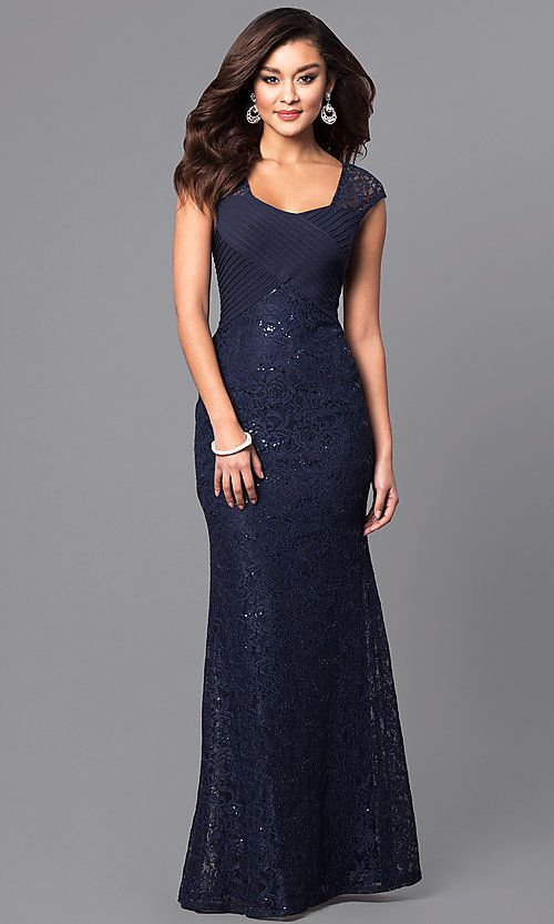 7cc490f5022 Long Square Neck Lace Prom Dress with Cap Sleeves in 2019 | Looking ...