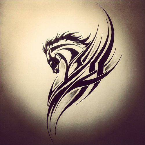 Awesome Tribal Horse tattoo