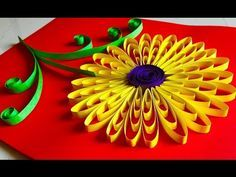 Quilling flowers tutorial - Sunflower | Paper Quilling wall hanging decoration - Arts and crafts - YouTube