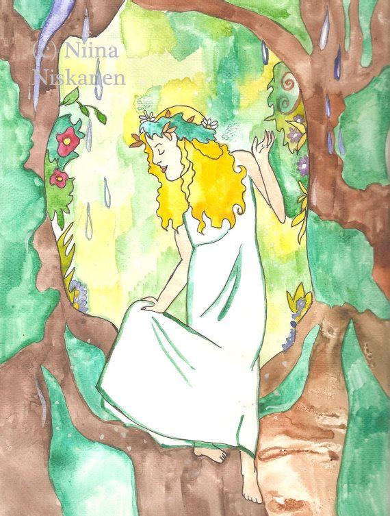 Goldberry Fantasy Art Print Lord of the Rings A4 / 8 X 11 Middle-Earth Tolkien Forest Spirit Fairy Art Print Nursery Art by Niina Niskanen