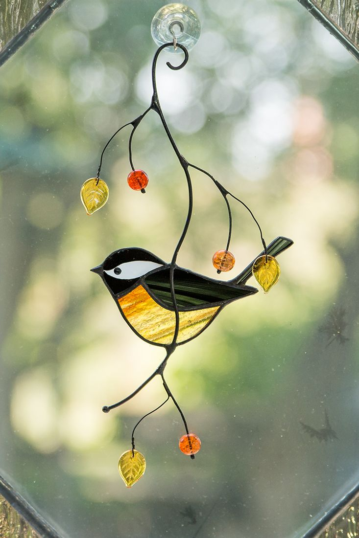 Chickadee Stained Glass Window Hangings Garden Decor Custom