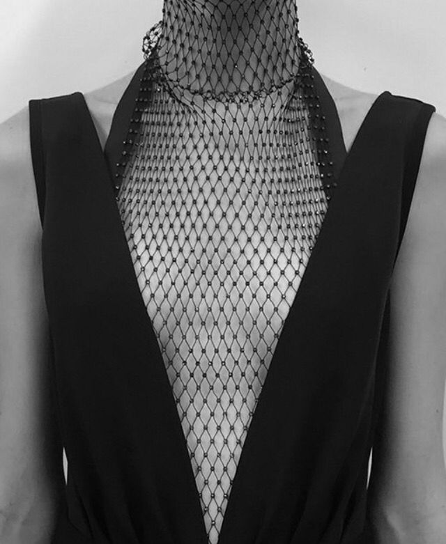 Black dress with beaded fishnet & plunging neckline; fashion details // Christopher Esber Resort 2015