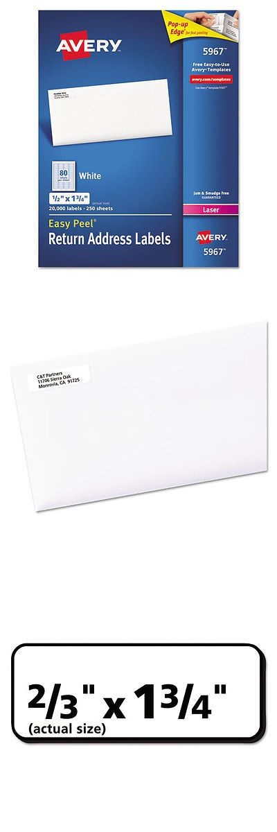Business Industrial: Address Labels For Laser Printers, 1/2 X 1 3/4, White, 20000/Box BUY IT NOW ONLY: $71.85