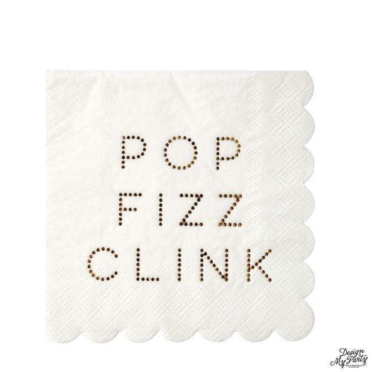Gold Pop Fizz Clink Napkins Sm