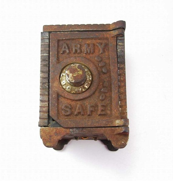 Antique Army miniature combination safe bank cast iron Military Victorian toy Collectors.  This is a really neat vintage cast iron bank that