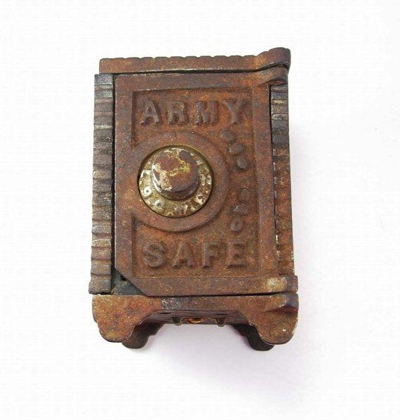 Antique Army miniature combination safe bank by NeatstuffAntiques, $185.00