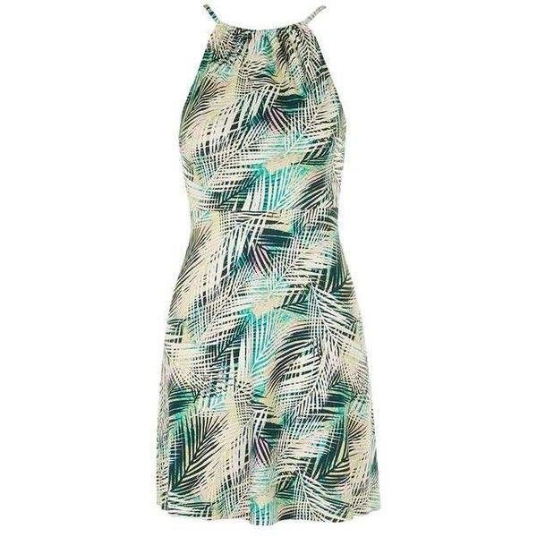 TopShop Petite Tropical Print Sundress ($38) ❤ liked on Polyvore featuring dresses, strappy sundress, low back dress, rayon sundress, green sundress and petite sundresses