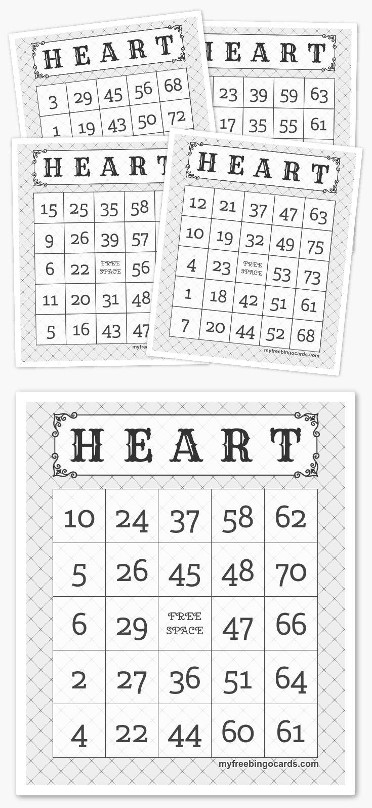H E A R T BINGO Free printable bingo cards, Bingo cards