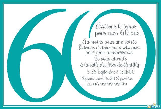 invitation anniversaire 60 ans à personnaliser et à imprimer - couleur bleu turquoise