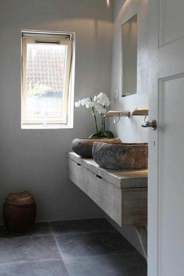 vasque en pierre, vasque ronde sur un comptoir en pierre