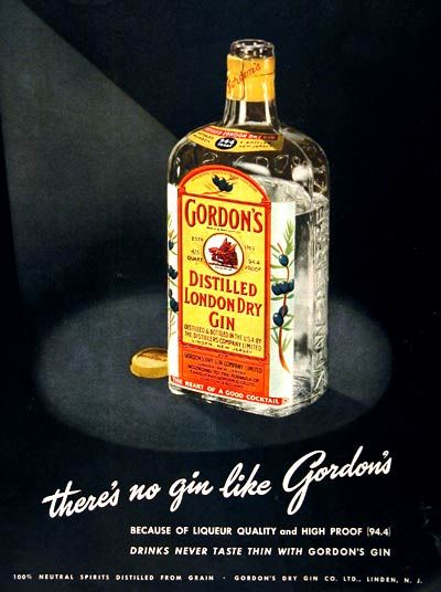 1950 Gordon's London Dry Gin original vintage advertisement