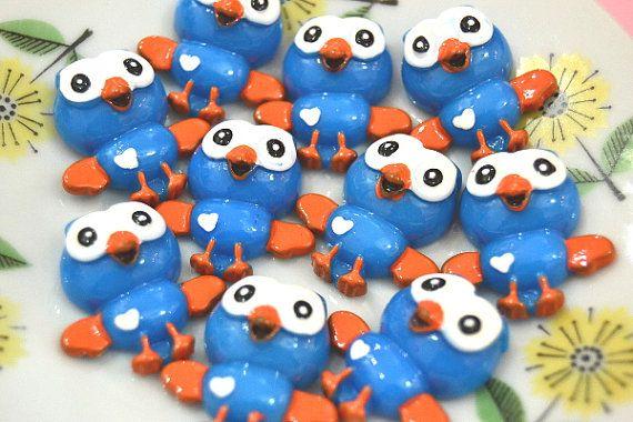 Blue Owl Cabochons 2 pcs, Cute Kawaii Flatback Cabochon, Decoden Cabochon, Resin Owl Cabochon, Kawaii Owls, Scrapbooking Owls