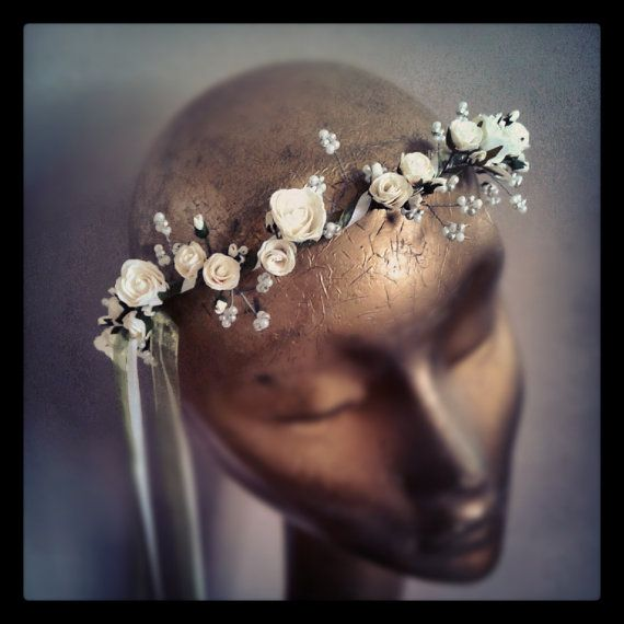 Pearl Wave Bridal Hair Garland (Circlet, Wreath, Crown) in Ivory on Etsy, $70.17