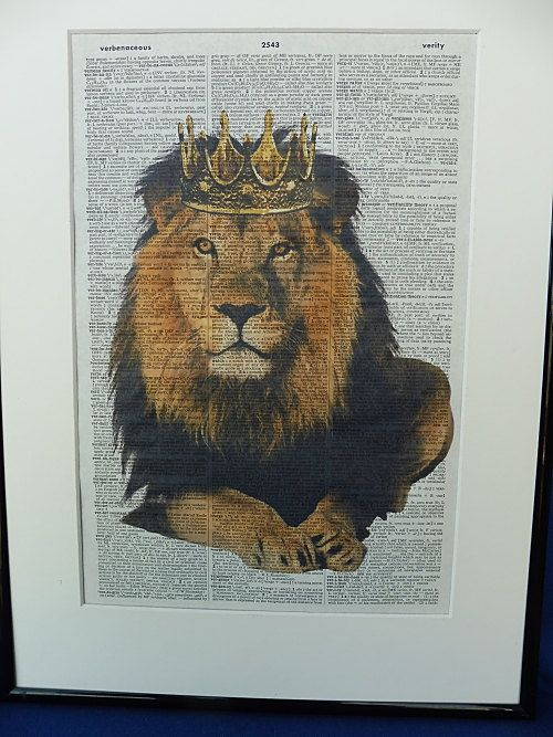 Lion with Golden Crown Dictionary Wall Art Print by DecorisDesigns