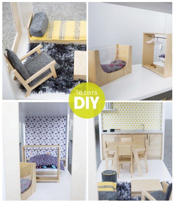 Mooie houten meubeltjes voor het poppenhuis. DIY
