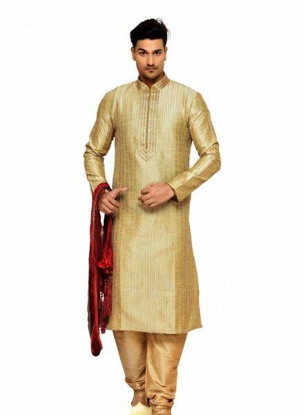 109a04f9a3 Gold Banarasi Silk Kurta Pyjama sku:Gold | Imtiyaz | Indian wedding wear,  Wedding wear, Traditional indian mens clothing