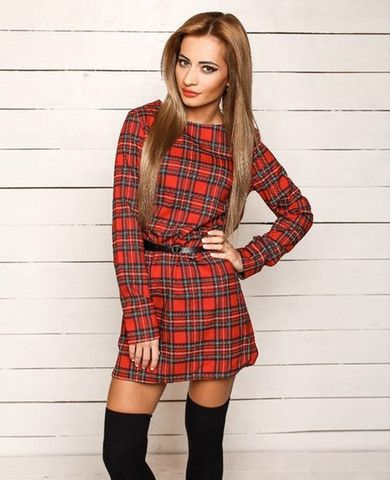 Long Sleeve Red Plaid Casual Dress